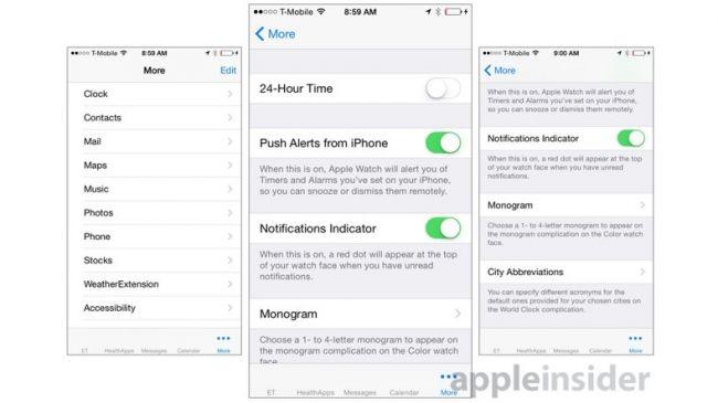 Apple Watch iPhone Uygulaması - Daha Falzla Menüsü